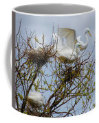 Great Egrets, Nest Building Coffee Mug