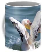 Great White Pelican In Flight Coffee Mug