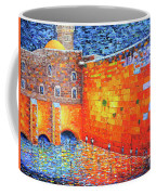 Wailing Wall Greatness In The Evening Jerusalem Palette Knife Painting Coffee Mug