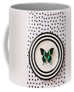 Green And Black Butterfly On Plate Coffee Mug
