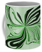 Green And Black Embroidered Butterfly Abstract Coffee Mug