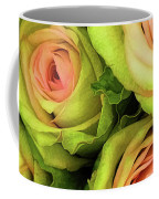 Green And Pink Rose Bouquet Coffee Mug