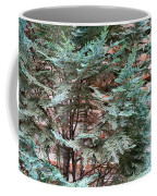 Green And Red - Slender Cypress Branches Over Rough Roman Brick Wall Coffee Mug