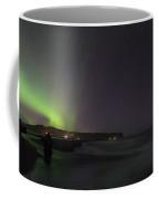 Green Aurora Borealis Over Iceland Coffee Mug