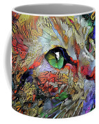 Green Eyed Orange Cat Dreaming Coffee Mug