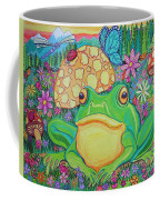 Green Frog With Flowers And Mushrooms Coffee Mug