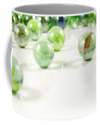 Green Glass Marbles Close-up Views Coffee Mug