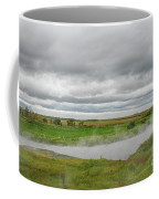 Green Landscape With Steamy River Coffee Mug