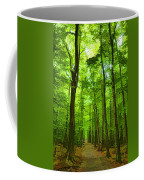Green Light Harmony - Walking Through The Summer Forest Coffee Mug