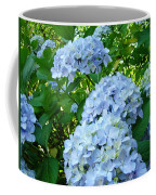 Green Nature Landscape Art Prints Blue Hydrangeas Flowers Coffee Mug