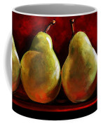 Green Pears On Red Coffee Mug by Toni Grote