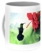 Green-throated Carib Hummingbird And Red Hibiscus Coffee Mug