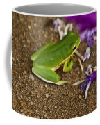 Green Tree Frog And Flowers Coffee Mug