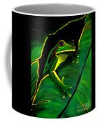 Green Tree Frog And Leaf Coffee Mug