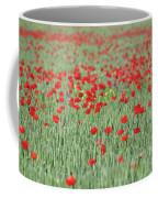 Green Wheat And Red Poppy Flowers Field Coffee Mug
