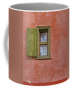 Green Window On A Red Wall Coffee Mug