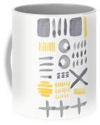 Grey And Yellow Shapes- Abstract Painting Coffee Mug by Linda Woods