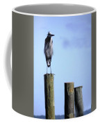 Grey Heron On A Pole Coffee Mug