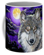 Grey Wolf And Full Moon Coffee Mug