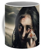 Grim Face Of Horror Crying Tears Of Blood Coffee Mug