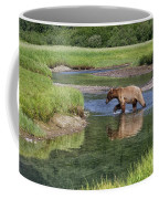 Grizzy Bear Crossing The River Coffee Mug