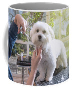 Grooming The Neck Of Adorable White Dog Coffee Mug
