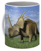 Group Of Dinosaurs Grazing In A Grassy Coffee Mug
