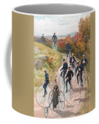 Group Riding Penny Farthing Bicycles Coffee Mug