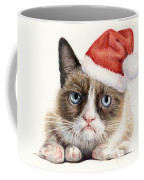Grumpy Cat As Santa Coffee Mug by Olga Shvartsur