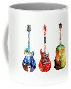 Guitar Threesome - Colorful Guitars By Sharon Cummings Coffee Mug
