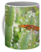 Gulf Fritillary On Cactus  Coffee Mug