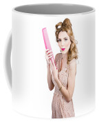 Hair Style Model. Pinup Girl With Large Pink Comb Coffee Mug