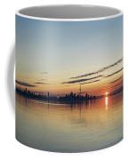 Half A Sunrise - Toronto Skyline From Across Silky Calm Lake Ontario Coffee Mug