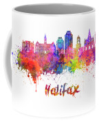 Halifax V2 Skyline In Watercolor Splatters With Clipping Path Coffee Mug