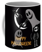 Halloween Bats Ghosts And Cat Coffee Mug