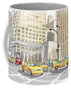 Hand Drawn Sketch Of A Busy New York City Street Coffee Mug