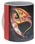 Hand Painted Silk Scarf Dragon On Black Coffee Mug
