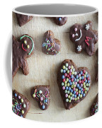 Handmade Decorated Gingerbread Heart And People Figures Coffee Mug