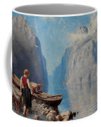 Hans Dah,  B. 1849. D. 1937. Norwegian Girl By The Sea Coffee Mug