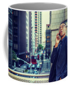 Happy African American Businessman Working In New York Coffee Mug