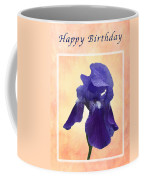 Happy Birthday Purple Iris Coffee Mug