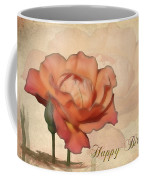 Happy Birthday Peach Rose Card Coffee Mug