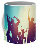 Happy Friends Family Jumping Together Having Fun Coffee Mug