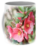 Happy Spring Flowering Quince Card And Poster Coffee Mug