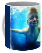Happy Under Water Pool Boy Square Coffee Mug