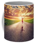 Happy Woman Jumping On Long Straight Road Coffee Mug