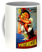 Happy Woman With Flowers, Festival In Ventimiglia, Italy Coffee Mug