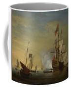 Harbor Scene An English Ship With Sails Loosened Firing A Gun Coffee Mug