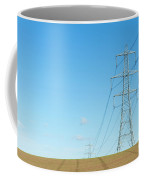 Hardly A Cloud In The Sky As Pylons Distribute Energy Through The Region. Coffee Mug