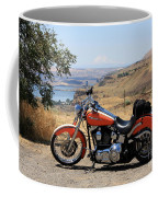 Harley With Columbia River And Mt Hood Coffee Mug